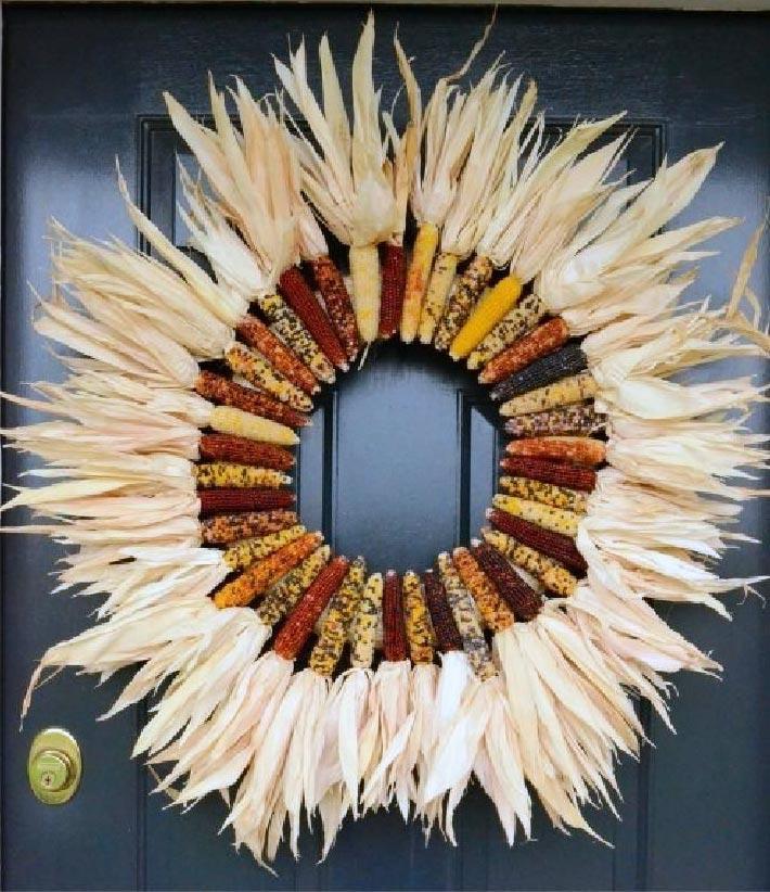 DIY Fall Indian Corn Wreath