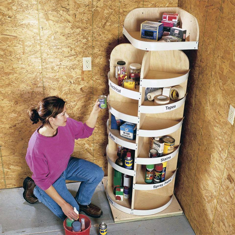 DIY Garage Storage Lazy Susan Shelf