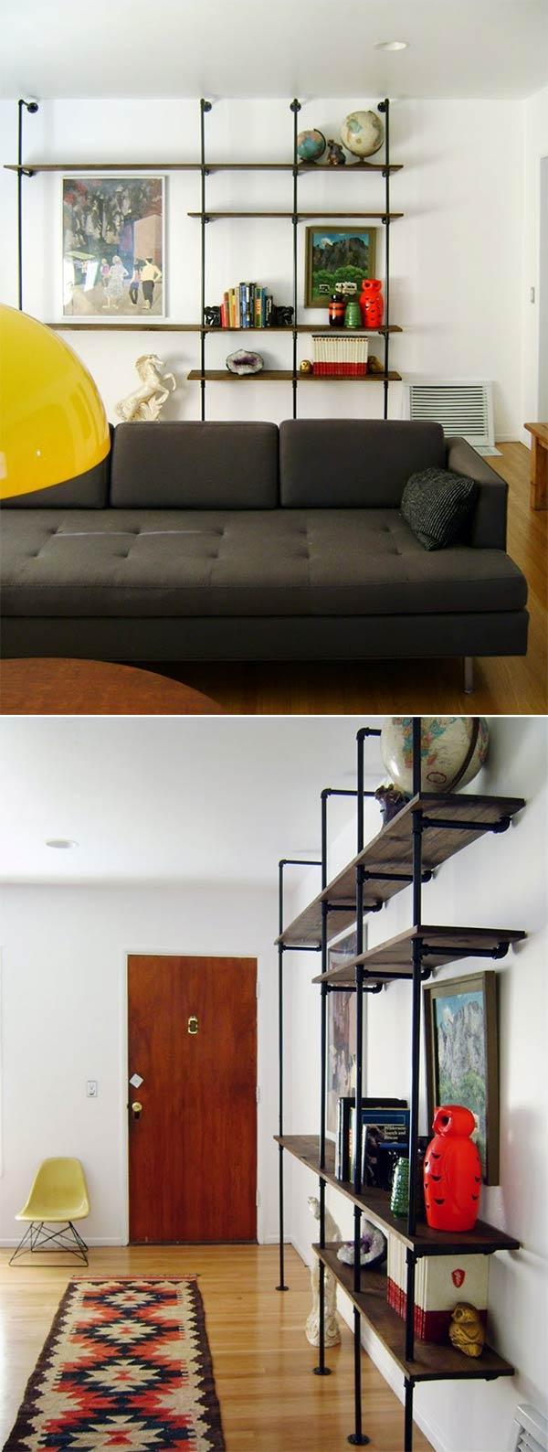 DIY Industrial Pipe Shelf Wall Unit