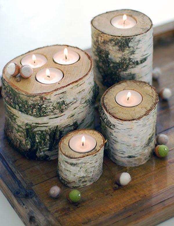 DIY Log Candle Holders