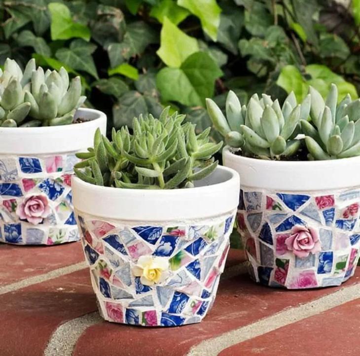 DIY Mosaic Plant Pots from Broken China