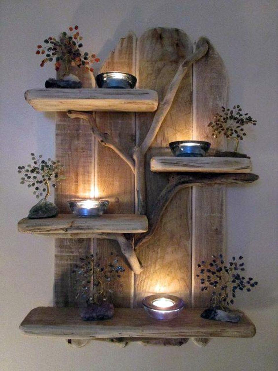 DIY Reclaimed Wood Wall Shelf