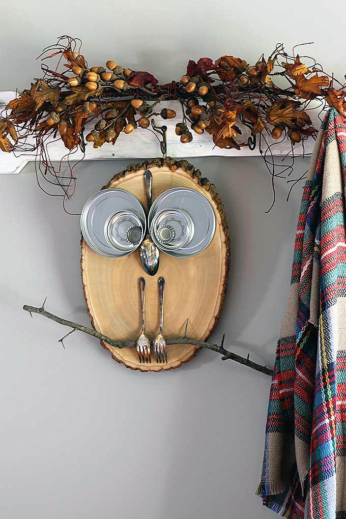 DIY Wood Slice Kitchen Owl