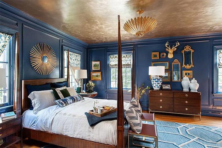 Decadent Blue & Gold Bedroom
