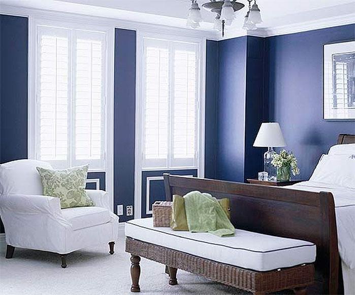 Elegant Blue & White Bedroom