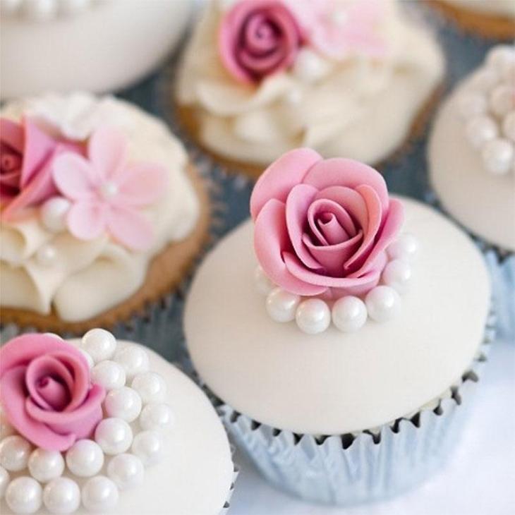 Elegant Pearl Rose Cupcakes