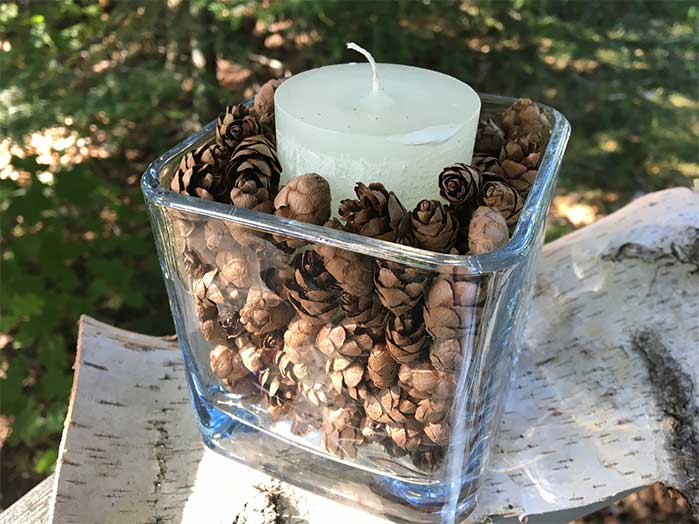 Hemlock Cones DIY Candle Holder