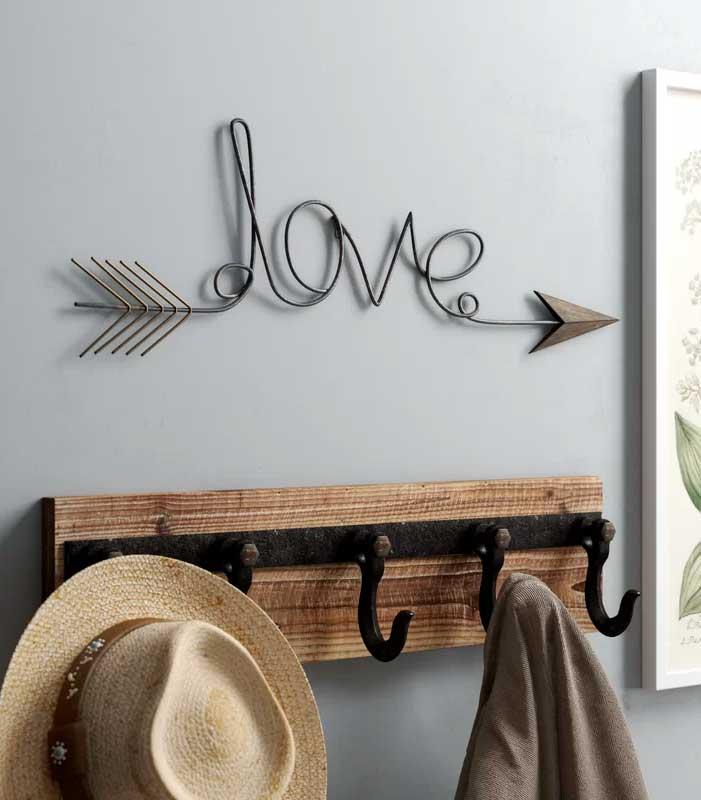 Love Arrow Metal Wall Decor