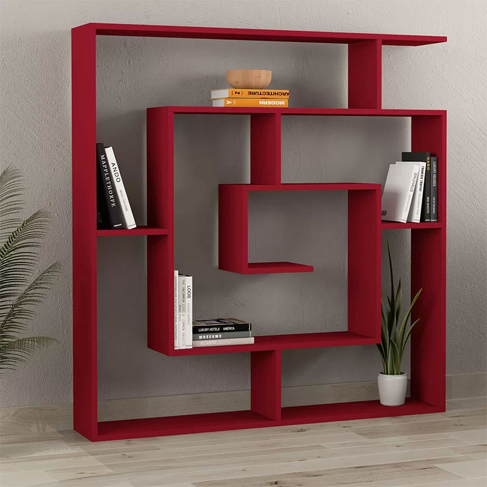 Mckibben Red Geometric Bookcase