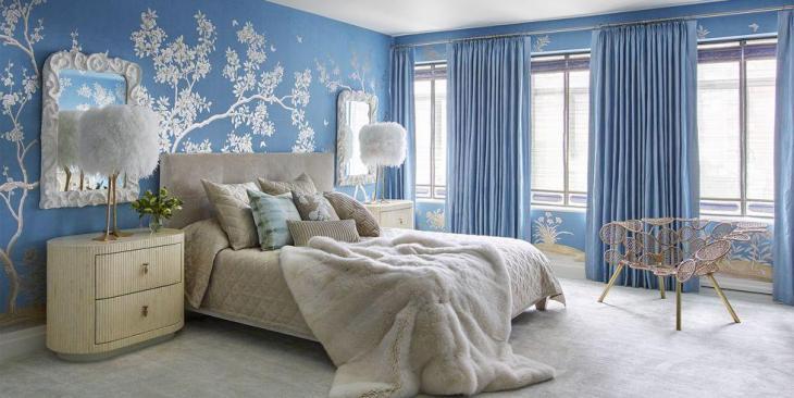 Floral Blue Bedroom