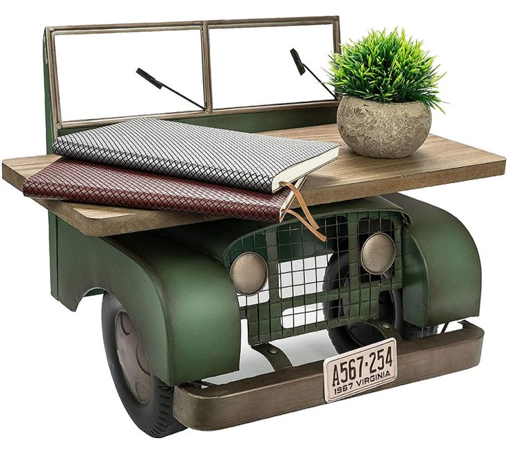 Retro Floating Jeep Rustic Wall Shelf