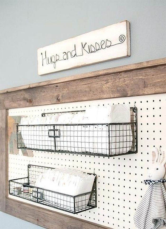 Rustic Pegboard Baby Changing Station Shelf