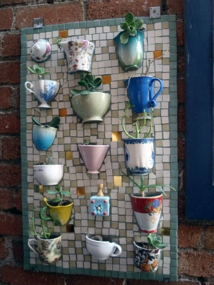 DIY Backyard Ideas | Tea Cup Vertical Garden