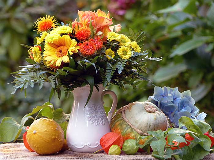Water Pitcher Fall Flower Arrangement