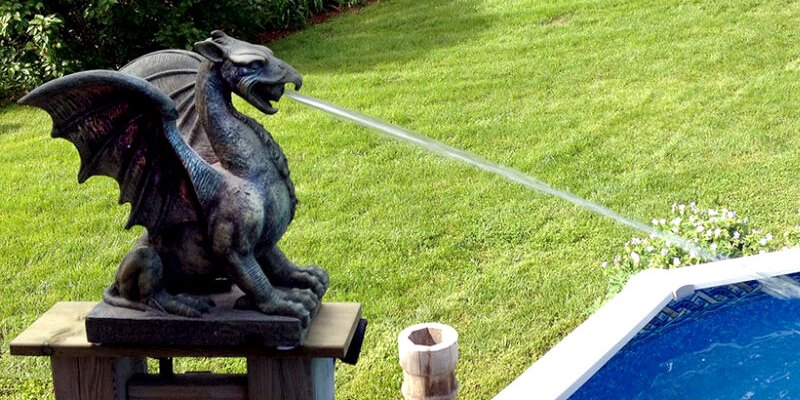 Unique Dragon Pool Spitters Backyard DIY Project