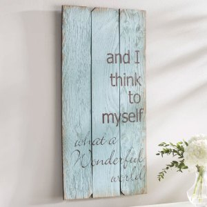 What a Wonderful World Rustic Wood Wall Plaque