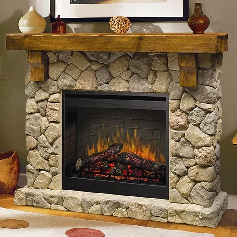 Boutin Rustic Fieldstone Fireplace
