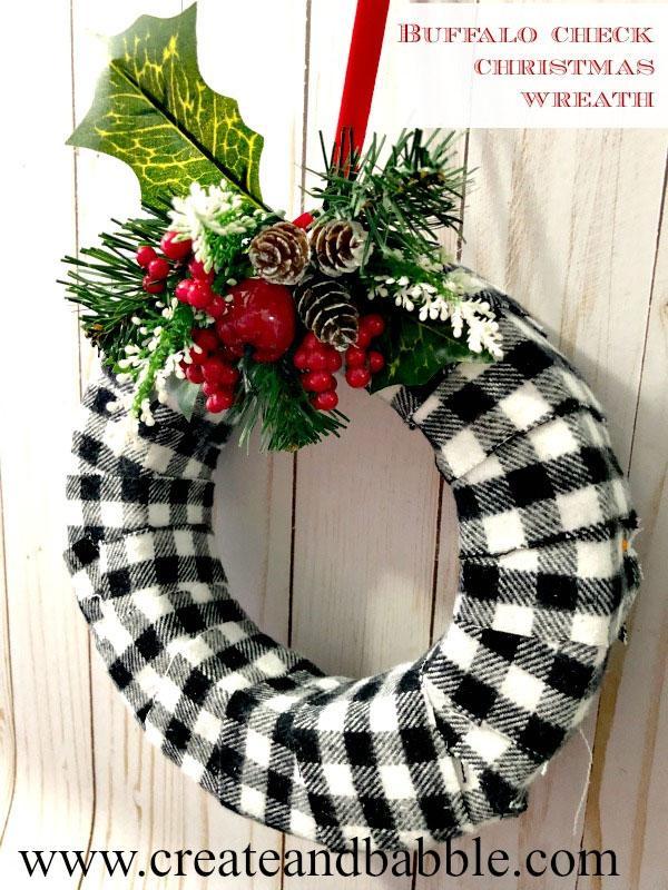 Buffalo Check Fabric Merry Christmas Wreath