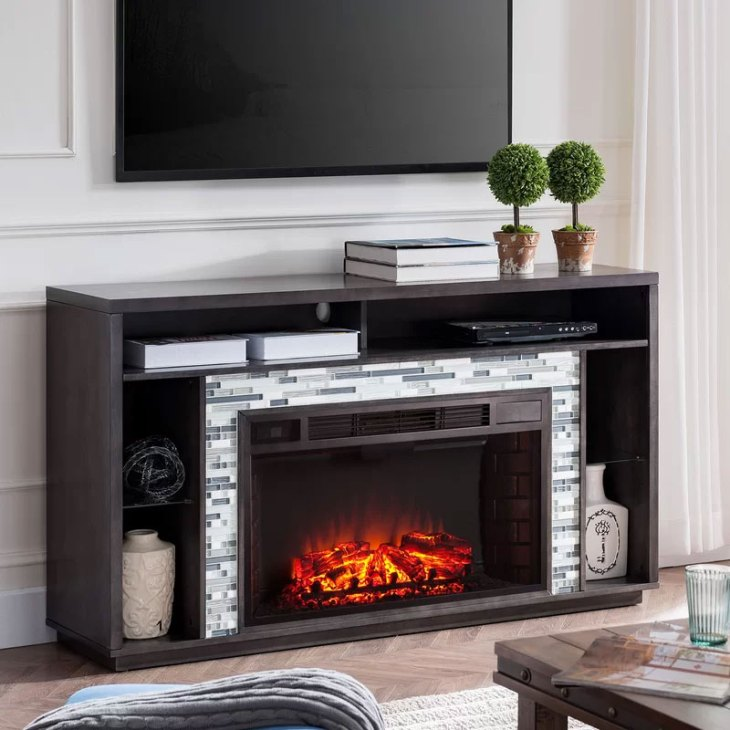 Callum Glass Tiled Media Center Fireplace