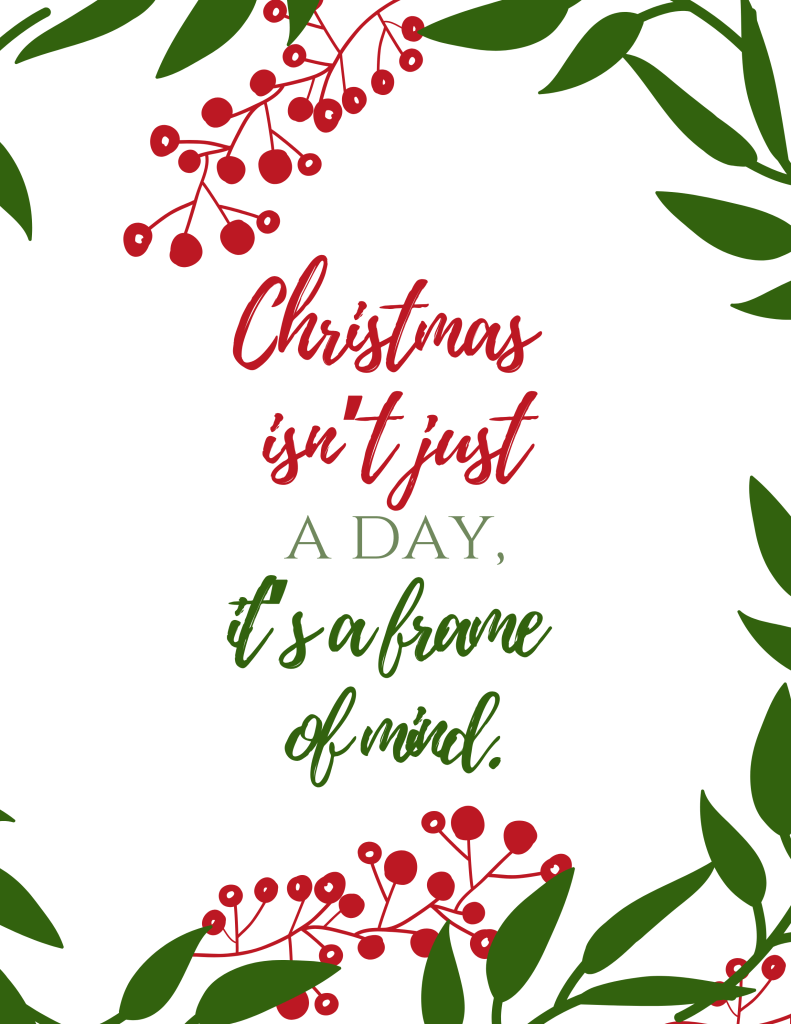 Christmas Isn't Just a Day Printable Quote