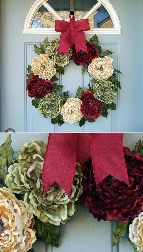 Christmas Peony Wreath