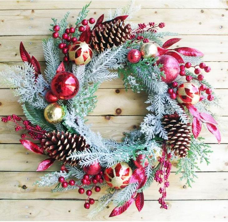 Colorful Cedar Wreath