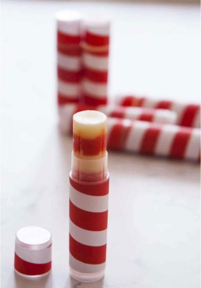 Candy Cane Lip Balm DIY Christmas Gifts
