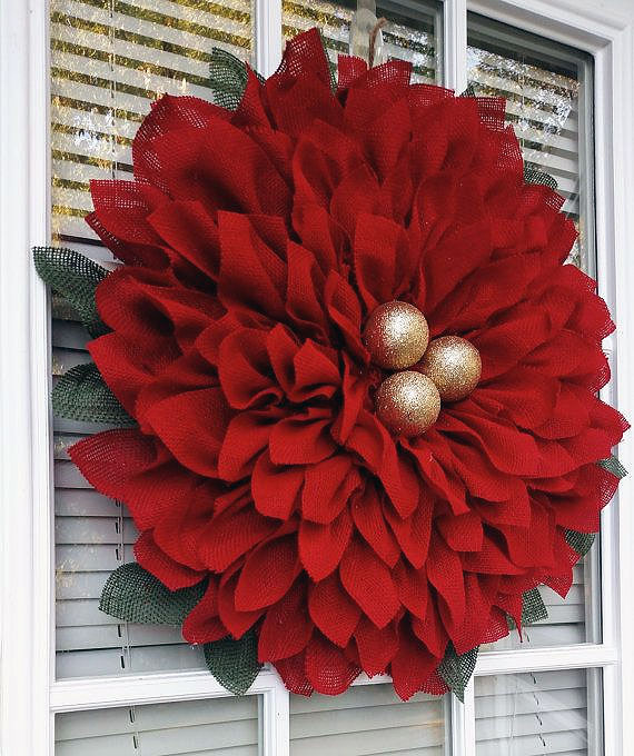 DIY Oversized Poinsettia Wreath