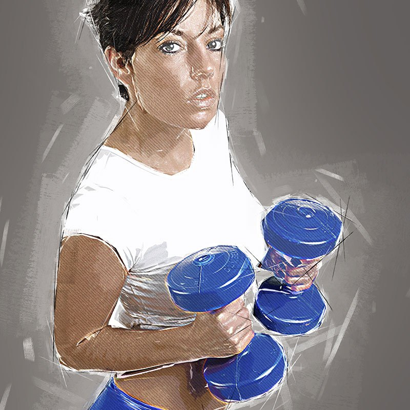 Fit Female with Weights Free Printable Gym Art