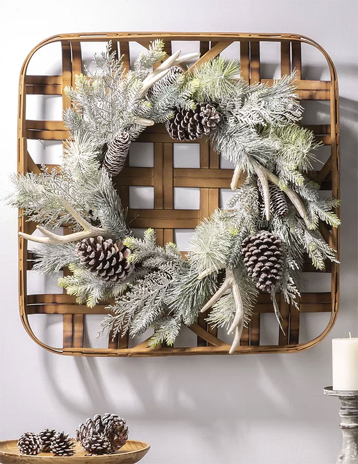 Flocked Pinecone and Antler Wreath