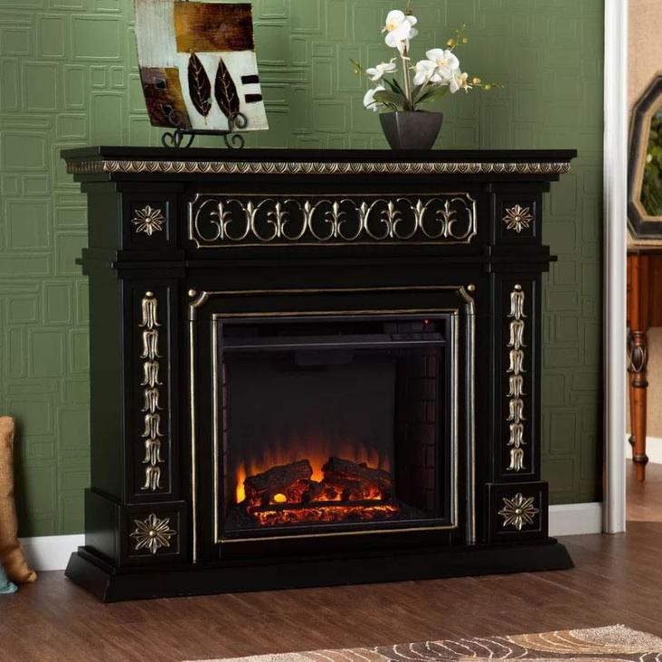 Henjes Black and Gold Fireplace