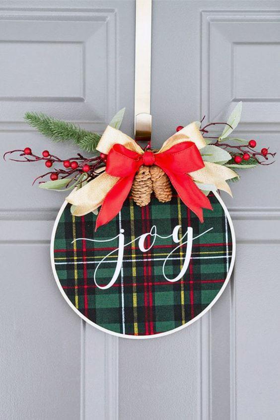 Joy Embroidery Hoop Christmas Wreath