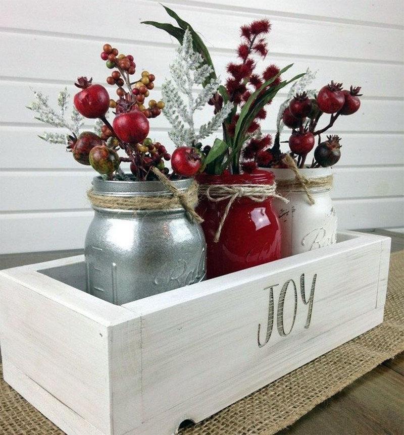 Joy Mason Jar Planter | DIY Christmas Decorations