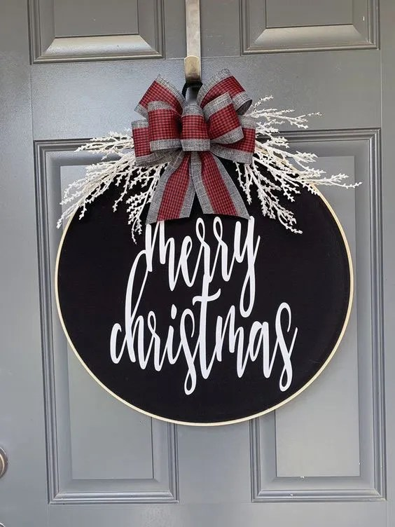 Merry Christmas Embroidery Hoop Wreath