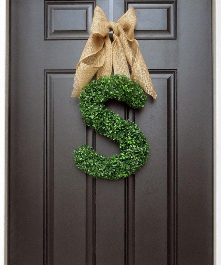 Monogram Boxwood & Burlap Wreath