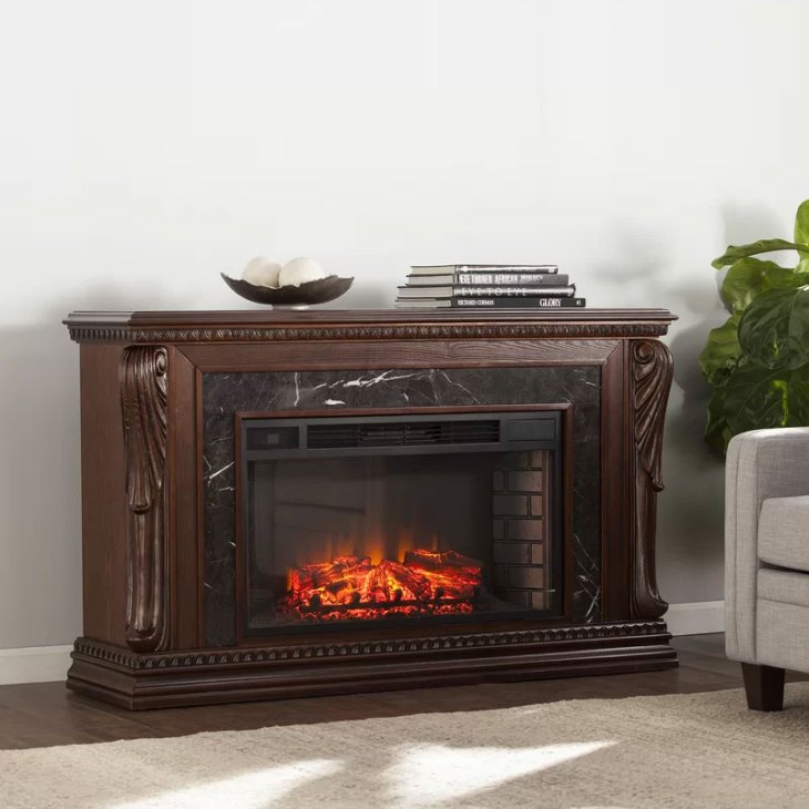 Ornelas Bolder Creek Carved Widescreen Fireplace