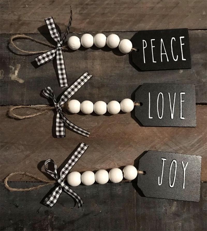 Peace, Love, & Joy Wood Bead Tags DIY Christmas Gifts