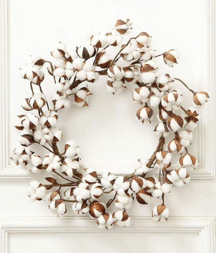 Real Cotton Farmhouse Christmas Wreath
