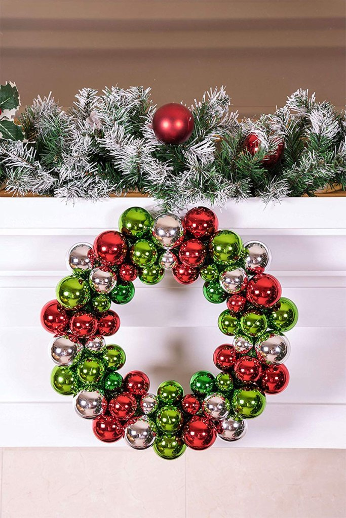Red, Green, and Silver Christmas Ornament Wreath