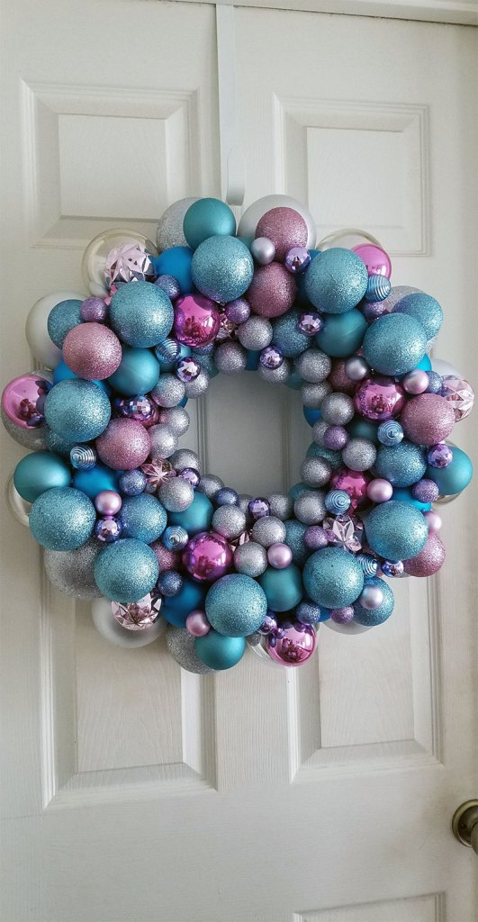 Silver and Pastel Christmas Bauble Wreath