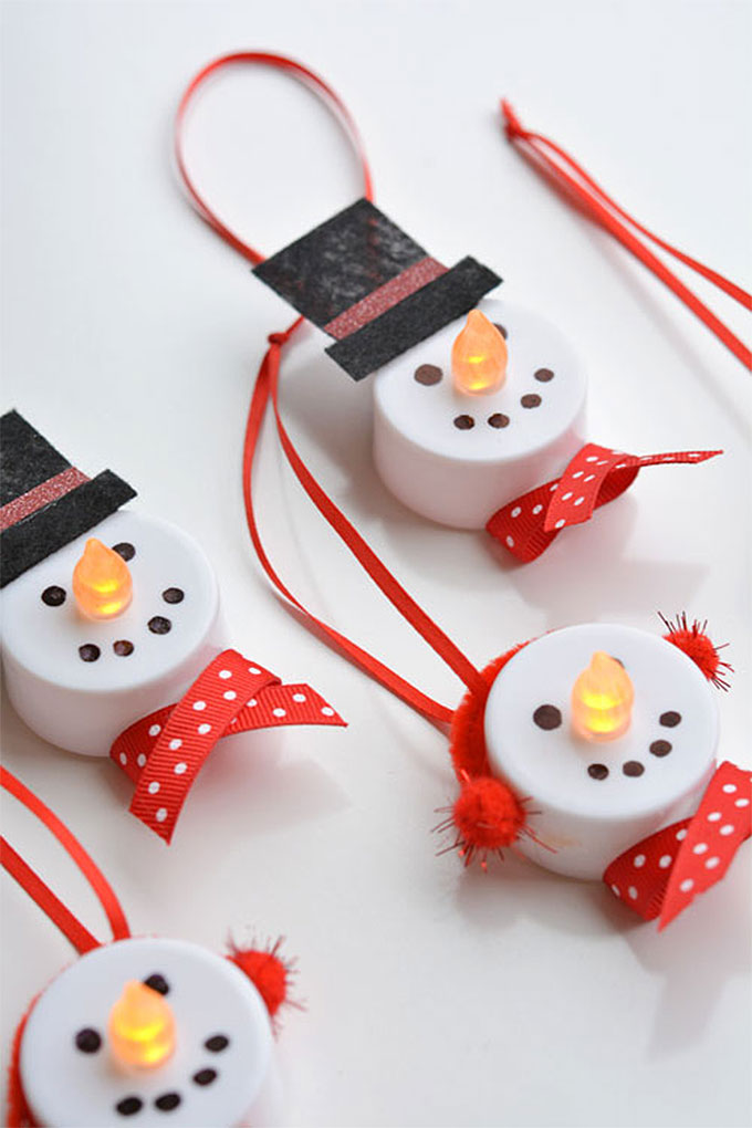 Tea Light Candle Snowmen | DIY Christmas Decorations