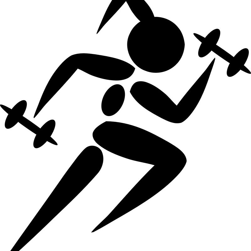 Woman Running with Weights Fitness Printable