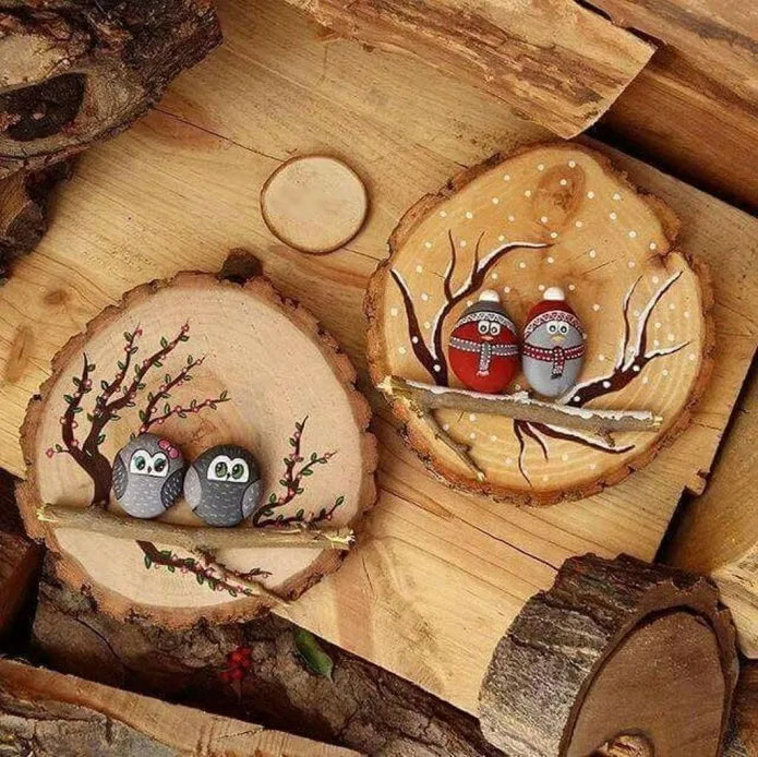 Wood Slice Bird Ornaments