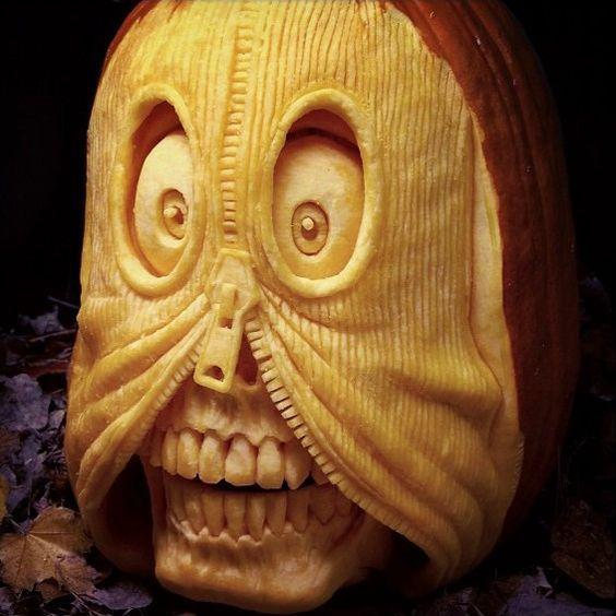 Zipper Face Carved Pumpkin