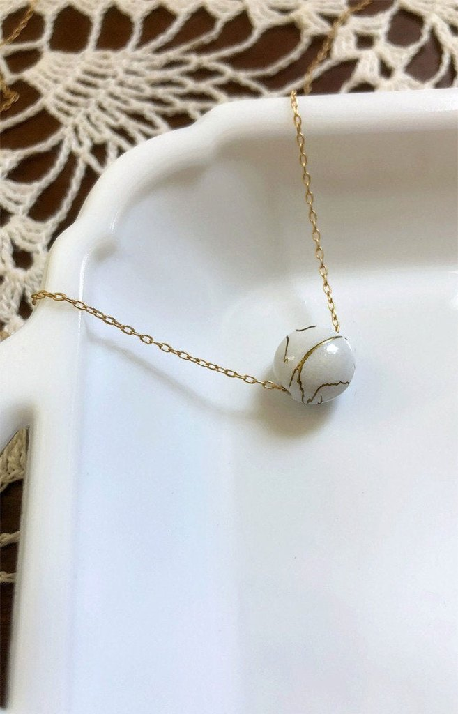 I Am Whole Necklace White Gold Kintsugi Necklace