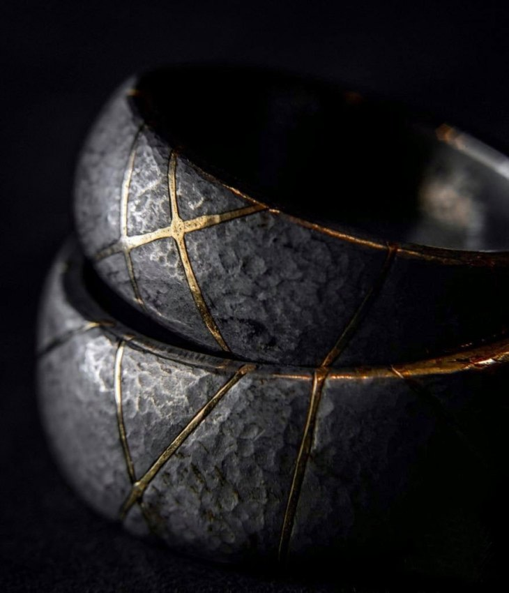 Kintsugi Iron & Gold Wedding Rings