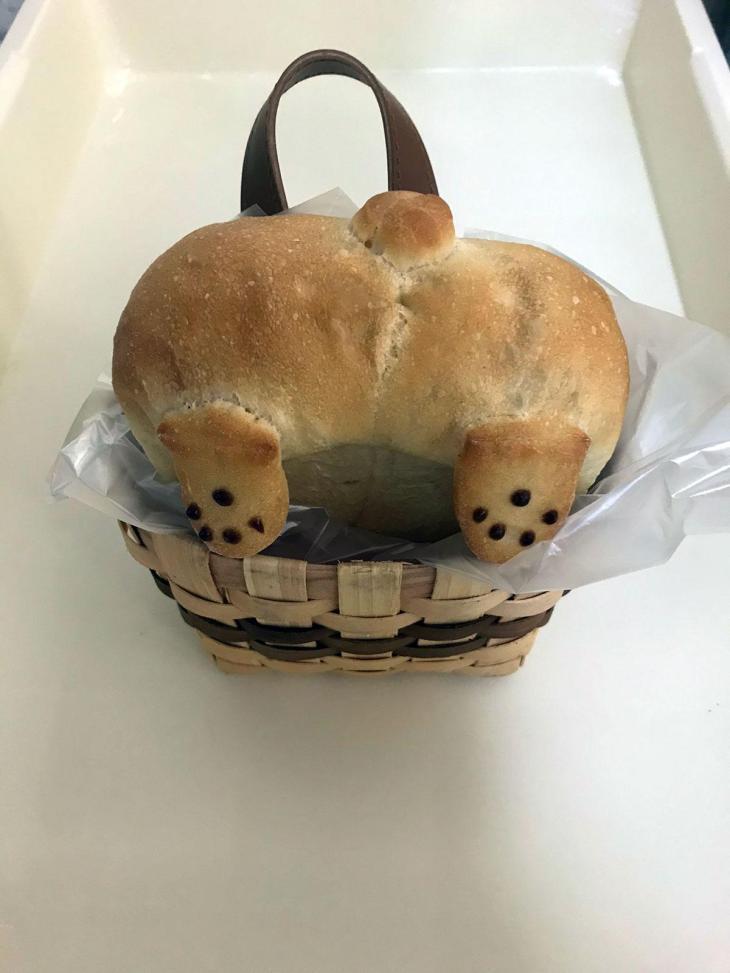 Corgi Butt Bun in a Basket