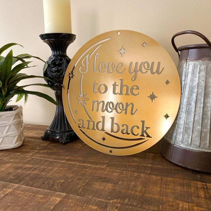 I Love You to the Moon and Back Metal Wall Decor