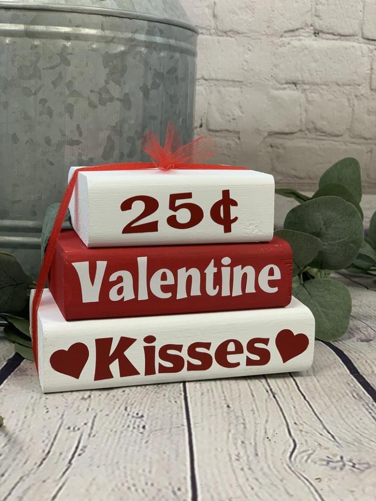 Valentine's Day Kisses Decorative Stacker Blocks