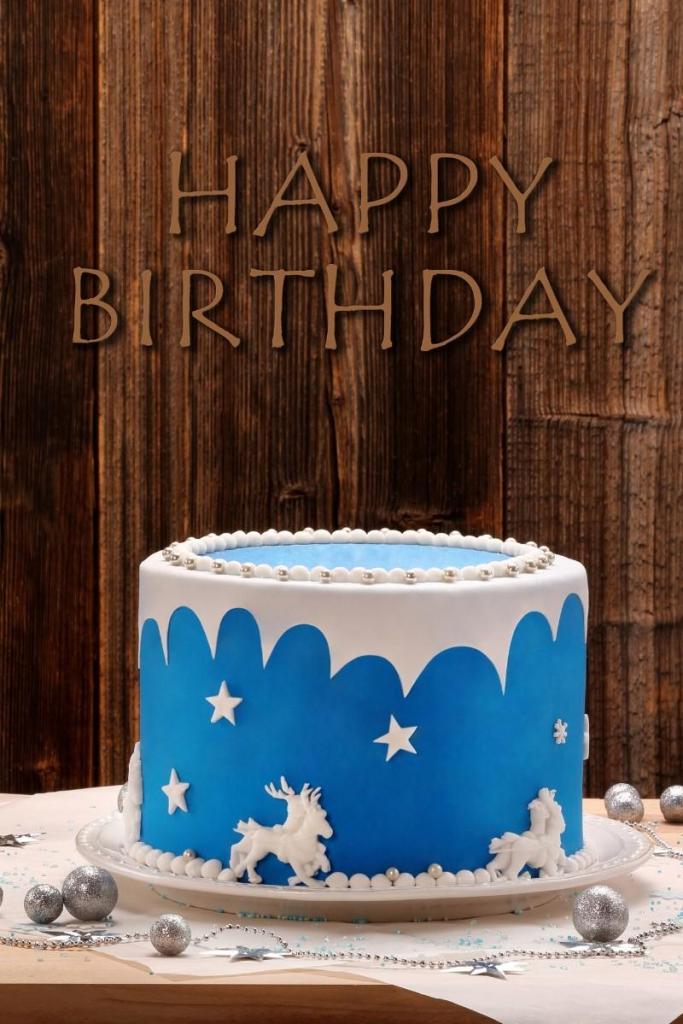 Blue Birthday Cakes - Horses & Stars